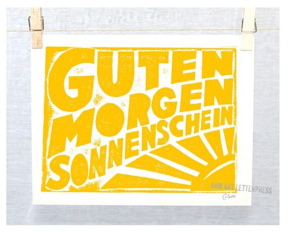 Guten Morgen Sonnenschein German Good Morning Sunshine Typography Kitchen Art Print  Baby Nursery Decor