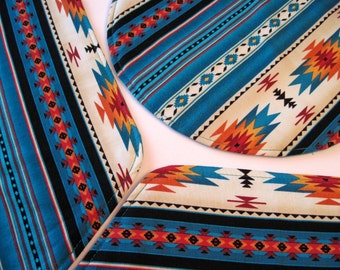 Southwestern Wedge Placemats Reversible Turquoise Aztec Wedge Placemats Turquoise Placemats Sedona Placemats for a round table