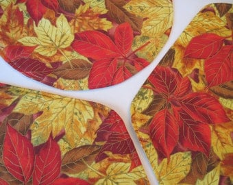 Changing Leaves Wedge Placemats Set Golden Yellow and Red Leaves Fall Wedge Placemats Thanksgiving Placemats