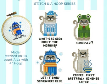 Stitch & a Hoop Grouchy Cat Cross Stitch PDF