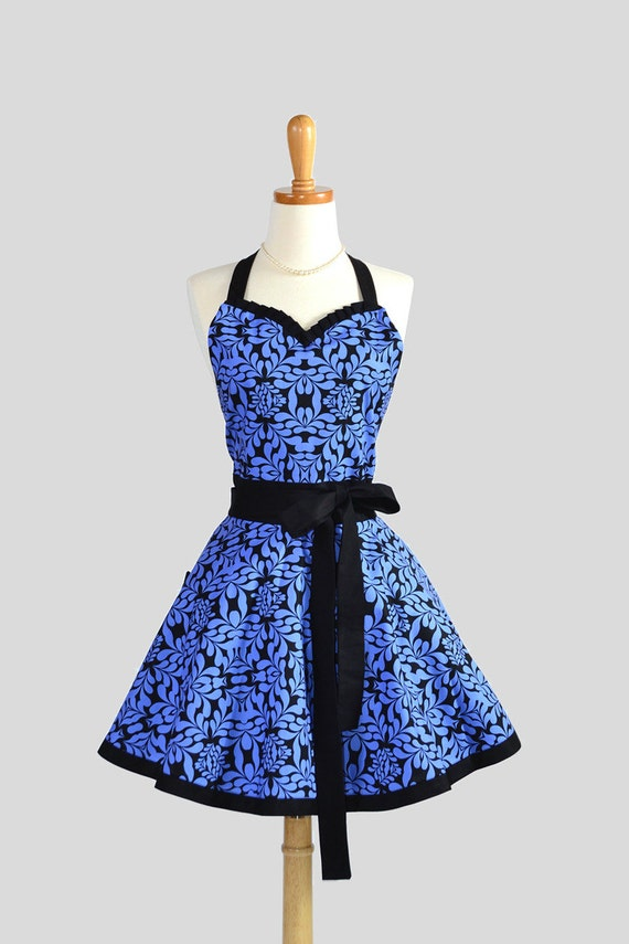 Sweetheart Retro Apron , Sexy Handmade Kitchen Apron in Royal Blue and Black Floral