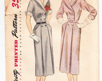 Vintage 1950 Simplicity 3455 Sewing Pattern Misses' One-Piece Dress with Detachable Collar and Cuffs Size 18 Bust 36