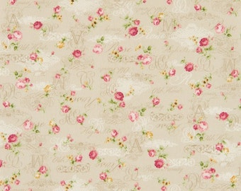 Cosmo Cotton Fabric  ap42401-1a Roses and scrript on light beige
