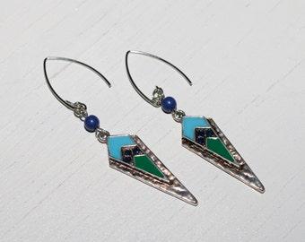 Aztec Triangle - Silver Dangle Earrings