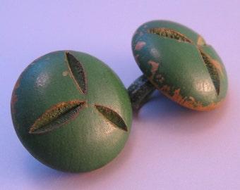 Vintage Carved Earrings Green Wood