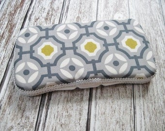 Geometric Baby Wipes Case in Gray, White, and Mustard Yellow, Travel Baby Wipe Case, Modern Geometric Baby
