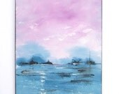 Abstract landscape painting, abstract beach, 11x14 inch diagonal modern art painting with dusty blue and purple