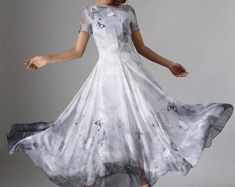 butterfly dress,ladies dresses, long dress, chiffon maxi dress, bridesmaid dress,custom dress,chiffon wedding dress, fit and flare dress 964