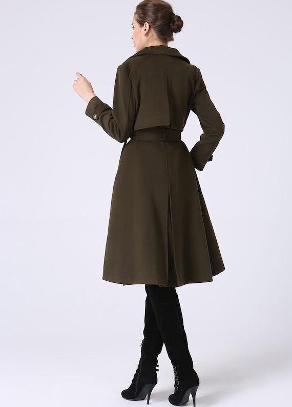 Trench coat military coat winter coat women army green