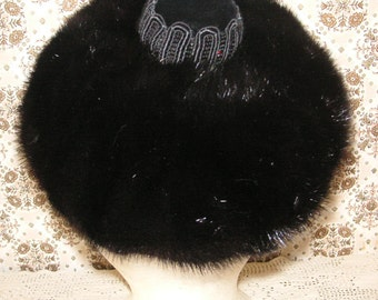 I MAGNIN black fur pillbox hat by Irene of New York Excellent condition Jackie O style mink