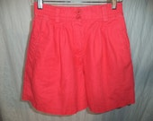 Vinatge 1980s Orangy Red 'Please Thank You' High Waisted Shorts - Size 7/8