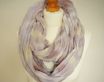 Summer Light Extra Long Cotton Snood Infinity Scarf - Naturally Dyed - Womens Organic Summer Beach Accessory