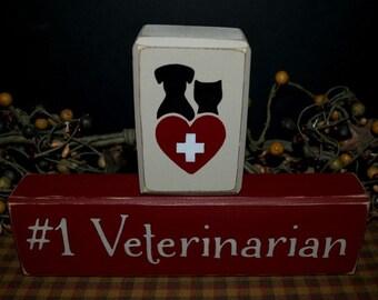 Veterinarian primitive wood blocks sign
