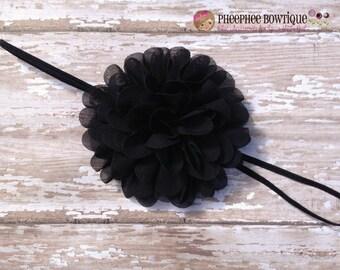 Black Flower Headband, Emma Petal, Newborn Headband, Baby Headband, Infant Headband, Photo Prop, Flower Girls, Weddings, School Bows