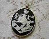 Lion Crest, Large Ova, UNISEX, Vampire Crest, Coat of Arms, Black and white crest, Goth