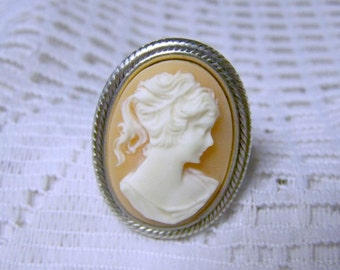 Victorian Cameo ring - Peach Lady Portrait Adjustable Ring - sterling-silver plated ring