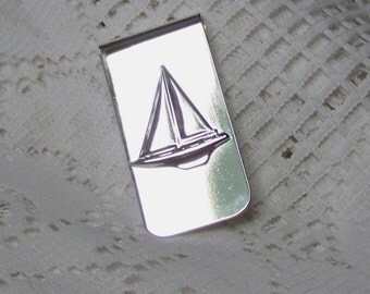 Sailboat Money Clip - Silver Plated - Sloop - Boat - Sailing - Father's Day Gift - Gifts for Men USA Shipping PAID