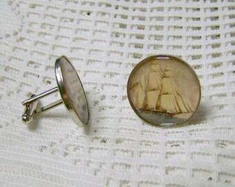 CLIPPER SHIP Cuff Links, Vintage Historical Sailing Ship, Windjammer, Age of Sale, Nautical, Victorian Art, Formal Wear, Maritime Wedding