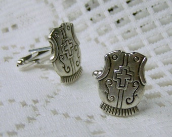 Knights Armour cuff Links - Renaissance Cuff Links - Breast Plate cuflinks - Silver Armor Cuff Links Soldier Warrior Knight  Armour