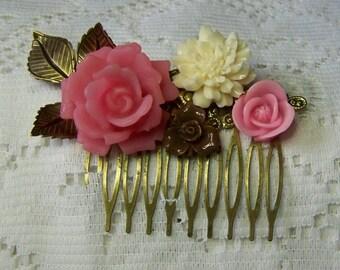 Pink Rose Hair Comb - Pink Rose, Ivory Rose, Chocolate Rose, Antiqued Leaves, Flower Collage  Bridesmaids Gift, Pink Wedding, Garden Wedding