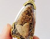 Certain Dark Things Quote Locket, Faux Stone Heart Terrarium Necklace, Love Quote, Mini Curio Display, Natural World