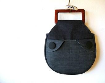 Wood Handle Handbag Deep Blue Denim and Mahogany READY TO SHIP