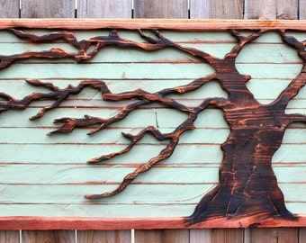 Reclaimed Wood - Tree Art Wall Hanging - Rustic Home Decor - Blowing in the Wind - Artistic Wall Hanging - Rustic Home Decor - Tree - Entry