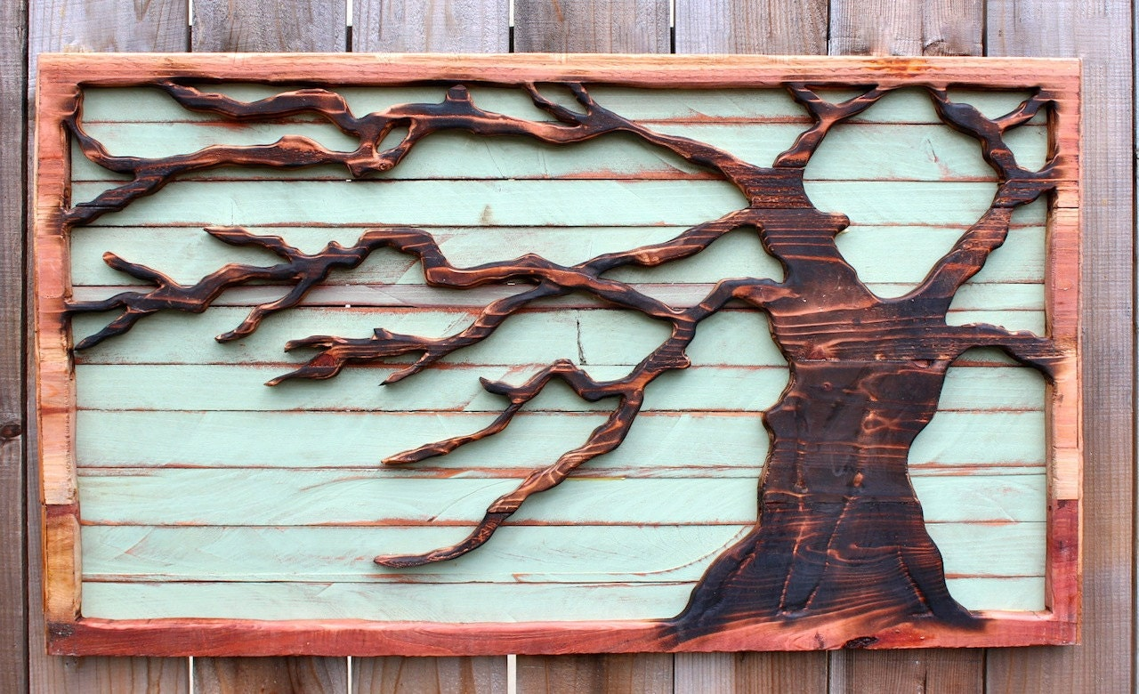 Reclaimed wood tree art wall hanging rustic home decor for Tree wall art
