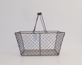 Farmhouse Basket , Vintage Inspired with  Wire Handle, Brushed Copper Finish