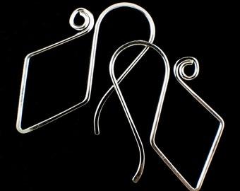 1 Pair Handmade Earrings - Diamond and Swirls I - Sterling Silver, 14kt Gold Fill, Copper, Brass, Bronze, Stainless Steel, Niobium, Titanium