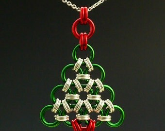 Necklace Kit - Chainmaille Christmas Tree in Your Pick of Colors