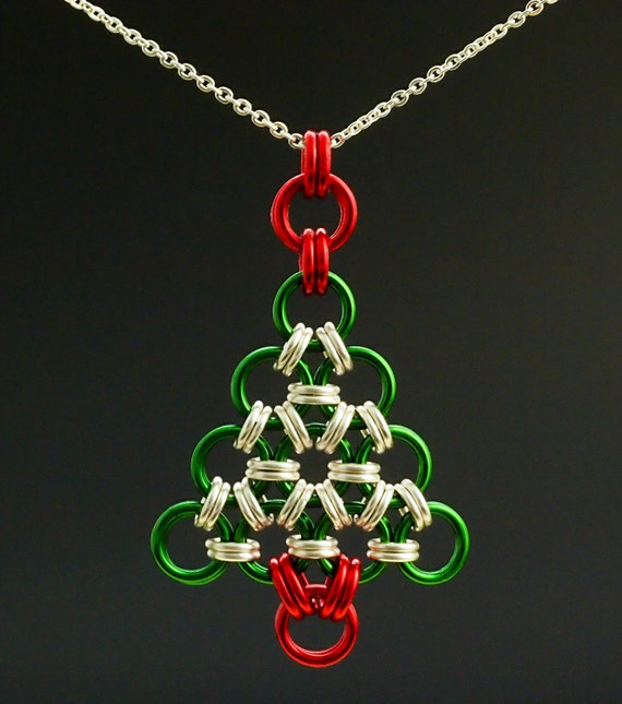Necklace Kit Chainmaille Christmas Tree in Your Pick of