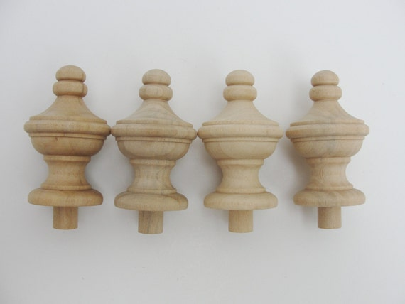 Wooden finial set of 4 from craftsupplyhouse on etsy studio for Wooden finials for crafts