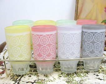 Pastel and lace tumblers set of 8, vintage barware, vintage kitchen, vintage tumblers
