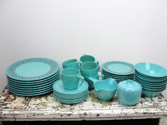 Vintage Blue Paisley Prolon Melmac Dinnerware Set 8 By
