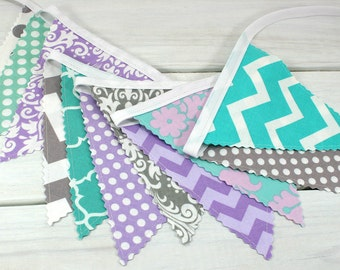 Bunting Banner, Fabric Flags, Girl Nursery Decor, Photography Prop, Garland  - Lavender, Purple, Gray, Mint, Teal, Chevron, Damask, Dots
