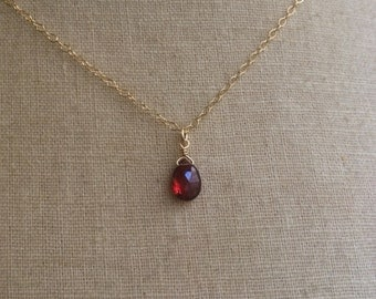 Tiny Garnet, January Birthstone, Garnet Necklace, Birthstone Necklace, Garnet Briolette, Bridesmaid Jewelry, Bridesmaid Necklaces, Garnet