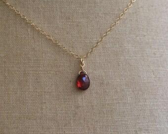 Tiny Garnet, January Birthstone, Garnet Necklace, Birthstone Necklace, Garnet Briolette, Bridesmaid Jewelry, Bridesmaid Necklaces, Garnet