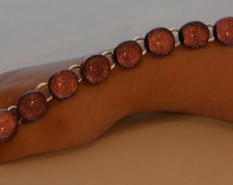 Fused Glass Bracelet, Pink Fused Glass on Black , SRAJD