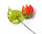 Handmade lampwork beads   -   Orange Rosebud & Leaf  -  celosia orange rose, leaf headpins, lampwork glass