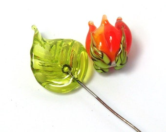 Handmade lampwork beads   -   Orange Rosebud & Leaf  -  celosia orange rose, leaf headpins, lampwork glass