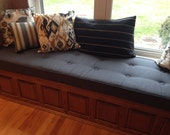 Custom Button tufted  Window Seat Cushion  with Cording - You Choose the Fabric