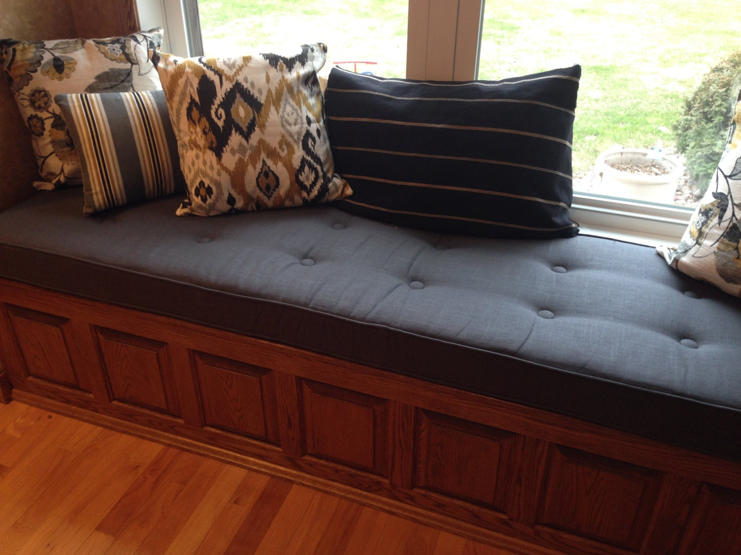 Custom Sewn Button Tufted Window Seat Cushion With Cording