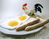 Eggs and Toast Breakfast Play Food, Crochet Toy Food Breakfast Set, Fried Eggs and Toast Kitchen Decor, Toddler Play Food, Kids Gift