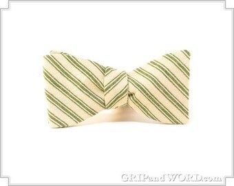 The Reading - Green and Cream Striped Bow Tie