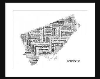 Toronto Map Typography 2 Map Poster Print