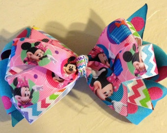 Pink & Turquoise Minnie Boutique Hair Bow