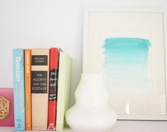 Aqua Ombre Watercolor Print