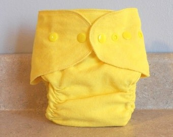 Fitted Medium Cloth Diaper- 10 to 20 lbs- Bright Yellow- 18002