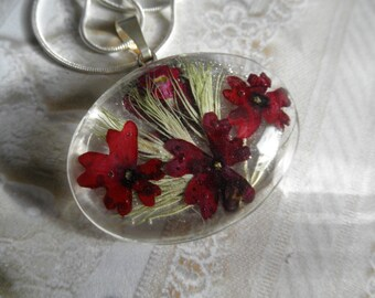 Enchanting Red Verbena Domed Pressed Flower Glass Pendant with Soft Green Wispy Grasses-Symbolizes Enchantment-Nature's Wearable Art